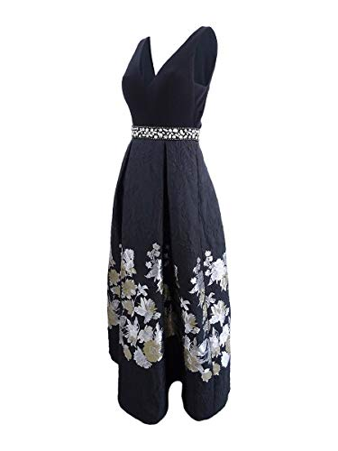 Betsy & Adam Womens Floral Special Occasion Evening Dress Black 8