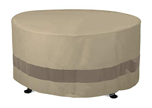SunPatio Outdoor Fire Pit Cover, Patio Ottoman Cover, Round Table Cover 50