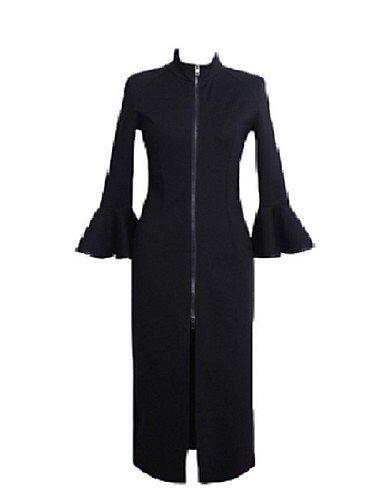 PU&PU Robe Aux femmes Gaine Street Chic,Couleur Pleine Col Ras du Cou Midi Polyester , black-l , black-l