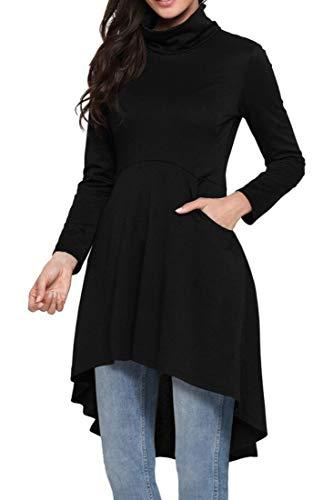 (ModMod Women's Sweater Dress Fall/Winter, Long Sleeve High Low Asymmetrical Top, Comfortable Fashion Tunic for Leggings (L, Black))