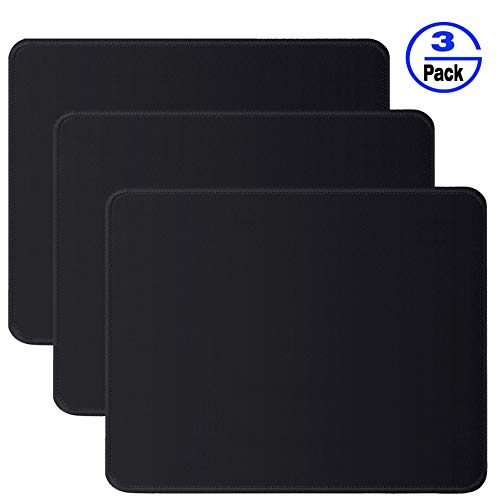 Gimnor 3 Pack Standard Mouse Pad with Stitched Edges, Comfortable Mouse Mat Pad, Non-Slip Rubber Base Mousepad for All Types of Mouse Laptop Computer PC 10.3 x 8.3 inches Black (Best Type Of Mouse Pad)