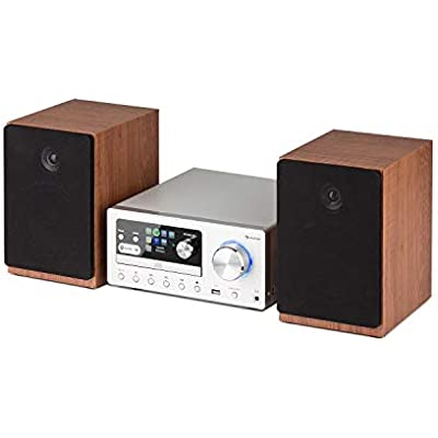 AUNA Connect System Stereo System Deluxe Edition Music System  Compact System  Internet DAB Radio  Max  Player  USB  Bluetooth  Spotify Connect  incl  Infrared Remote Control  Silver