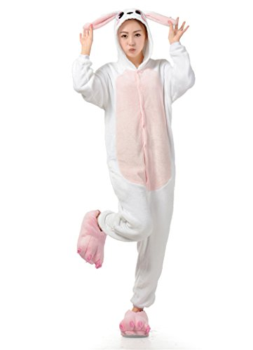 Cheap Rabbit Costumes (Ultra Soft Plush Pink Easter Bunny Costume Cosplay Sleepsuit XL)