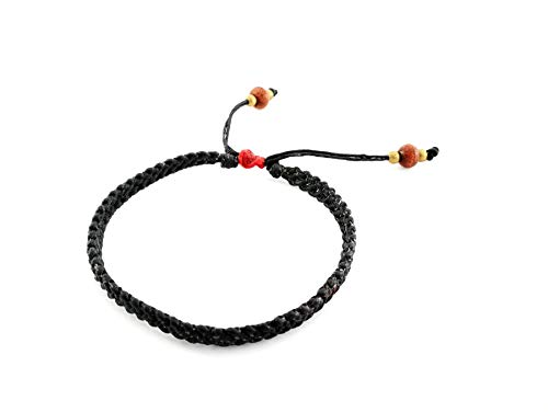 Waxed String Bracelet - ThongDee Jewelry Braided Bracelet Men Women Black Waxed Cord String Bracelets Wristband Adjustable Red Knot