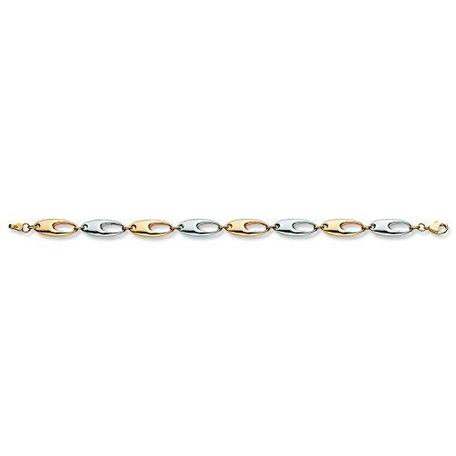 9ct 2Couleur Blanc et Jaune doré Fancy Bracelet 6,5g