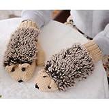 fashion novelty in winter Warm outdoor gloves woman's Cartoon hedgehog cotton gloves