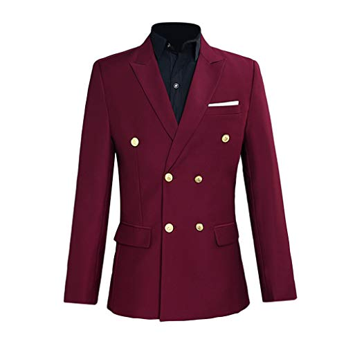Birdfly Men Fashion Stripted Captain Performance Presenter Costume Formal Suit (L, Wine) ()