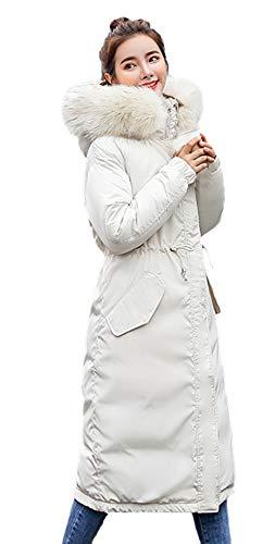 Pluma Invierno Moderno Outerwear Manga Elegantes Blanco De Casual Piel Anchas Larga Parkas Mujer Capucha Con Espesar Chaqueta Caliente Outdoor Abrigos Fiesta Largos WEqwSfHE0
