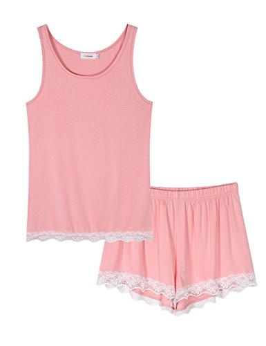 Coolmee Womens Lace Sexy Pajama set Sleeveless PJ Tank and Shorts Sleepwear Pink S