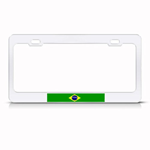 (Speedy Pros Brazil Flag Brazilian Country Metal License Plate Frame Tag Holder)