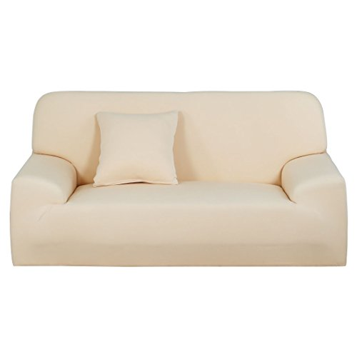 uxcell Stretch Sofa Cover Loveseat Couch Slipcover, Machine Washable, Stylish Furniture Protector with One Cushion Case (2 Seater, Beige)