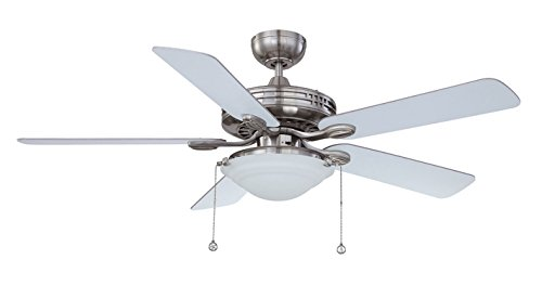 Kendal Lighting AC18552-SN   Builders Choice 52-Inch 5-Blade 3 Light Ceiling Fan, Satin Nickel Finish and Reversible Blades with Frosted White Glass Light Kit