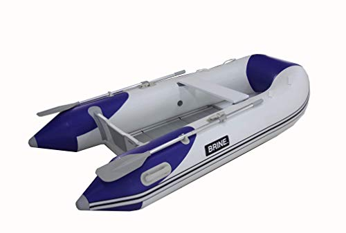 (Inflatable Boat Dinghy Tender Aluminum Segmented Floor 9 feet - USCG Rated 4 Person 10 HP Motor. Compact Storage and Performance. Pump & Accessories Included)
