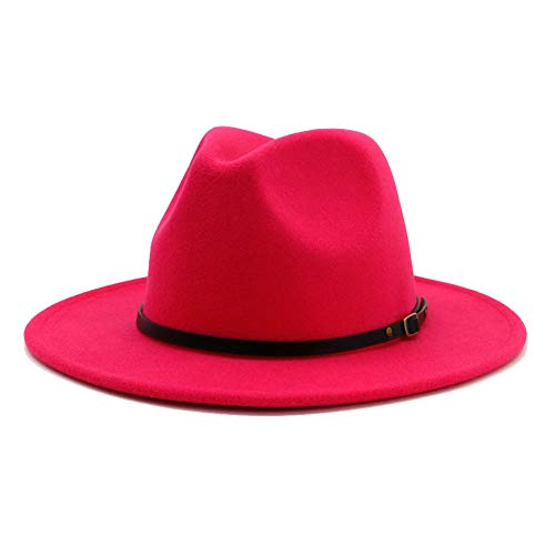 Classic Red Felt Hat - Vim Tree Women's Classic Wide Brim Fedora Hat with Belt Buckle Felt Panama Hat (M-Red)