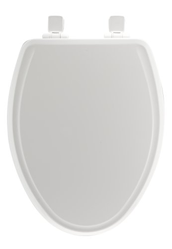 Mayfair Molded Wood Toilet Seat featuring Slow-Close, Easy Clean & Change Hinges and STA-TITE Seat Fastening System, Elongated, White, 148SLOWA 000/1848SLOWA 000