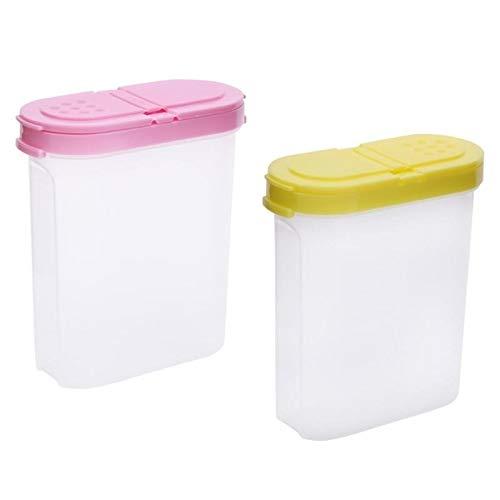 Amarillo rosa Kitche AppliancesBZN creativo pl/ástico de grado alimenticio oval doble cubierta condimento caja de la cocina Utilidad Color : Pink Verde