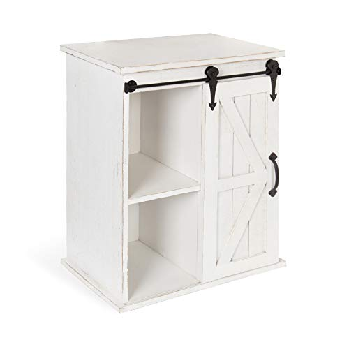 Table Door Antique - Kate and Laurel Cates Wooden Freestanding Storage Cabinet Side Accent Table with Sliding Barn Door, Antique White Finish