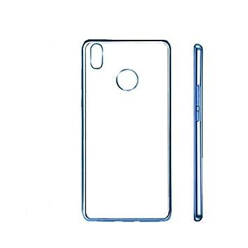 PLANETMOVIL® BQ AQUARIS X / X PRO funda de silicona carcasa con los bordes azul funda de gel bordes cromados