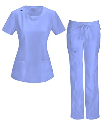Infinity by Cherokee Womens 2624A Round Neck Top with badge loop & 1123A Straight Leg Low Rise Comfort Pant Medical Uniform Scrub Set Top & Pants (Ciel - Medium) ()
