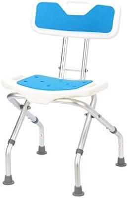 Dusch Badestühle Duschstuhl Duschsitz Duschhocker Faltbarer Duschstuhl Mit Rückenlehne Höhenverstellbarer Badezimmerstuhl Hilfsmittel für Bad (Color : Blue, Size : 42 * 45 * 73cm)