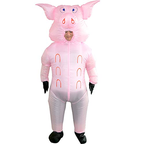 HUAYUARTS Pig Inflatable Costume Full Body Suit Adult Pink Blow Up Blow up Fancy Dress Halloween Cosplay,Free Size
