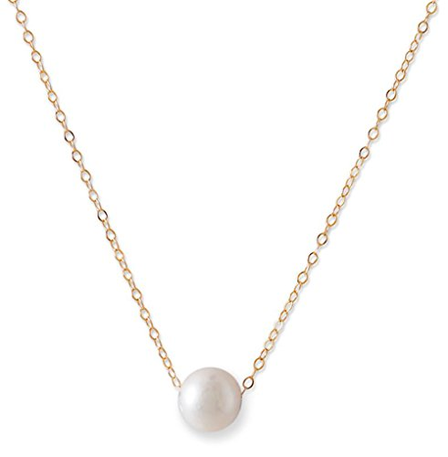 14K Gold Chain Necklace, Floating White Cultured Freshwater Pearl, 16 inches by Silver Messages