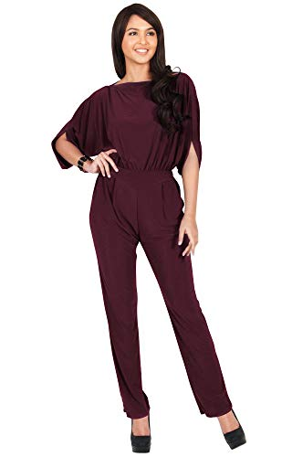 KOH KOH Petite Womens Short Sleeve Sexy Formal Cocktail Casual Cute Long Pants One Piece Fall Pockets Dressy Jumpsuit Romper Long Leg Pant Suit Suits Outfit Playsuit, Maroon Wine Red S 4-6