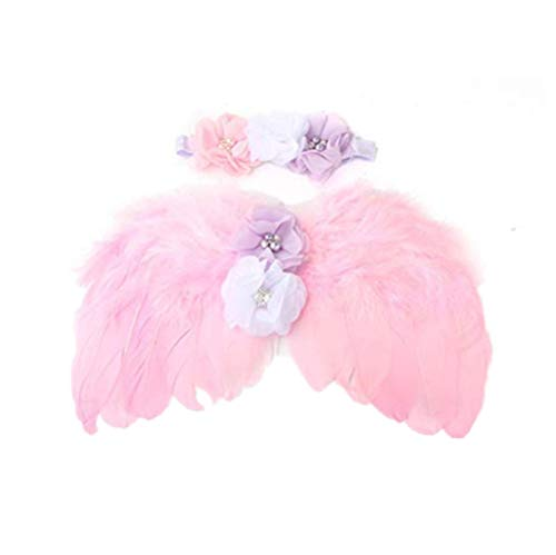 RUITASA Feather Angel Wings Rhinestone Headband Set Baby Chiffon Flower Headband Hair Accessories Newborn Baby Photography Props Pink