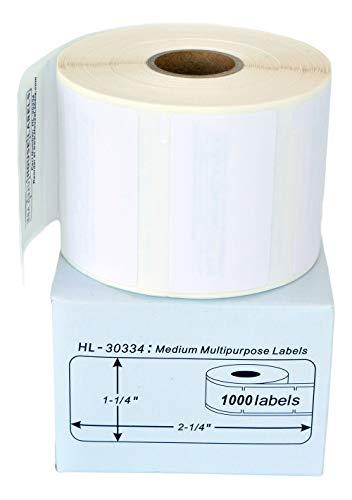 HouseLabels HL-30334-6FBA 6 Rolls; 1,000 Labels per Roll; DYMO-Compatible-30334 Medium Multipurpose Labels (2-1/4 x 1-1/4) - BPA Free!