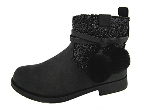 Lora Dora Buckle My Shoe Girls Faux Leather Ankle Boots Black Glitter 11 UK Child