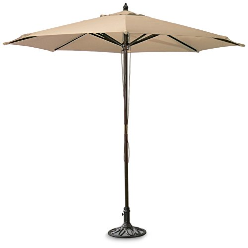 Superb Guide Gear 9u0027 Market Patio Umbrella With Pulley System Hardwood Pole, Khaki