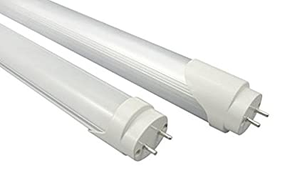 10-Pack of K&R T8 LED Light Tube, 4ft, 18W (36W equivalent), 5500K (Cool White), Double Ended Power, Frosted Cover, UL-Listed & DLC-qualified
