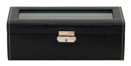 Friedrich|23 Unisex Uhrenkasten mit Glasdeckel für 4 Uhren Kunststoff  Schwarz 20086-2