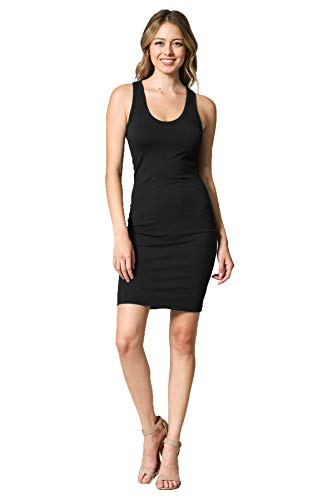LaClef Women's Sleeveless Basic Racer Back Tank Midi Cotton Casual Dress (Black Short, L)