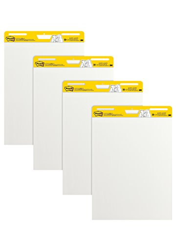 Post-it Super Sticky Easel Pad, 25 x 30 Inches, 30 Sheets/Pad, 4 Pads (559VAD4PK), Large White Premium Self Stick Flip Chart Paper, Super Sticking Power by Post-it