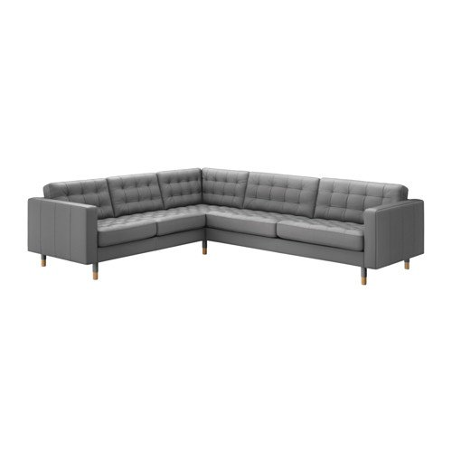 Ikea Sectional, 5-seat corner, Grann, Bomstad gray/wood 8202.11526.2618