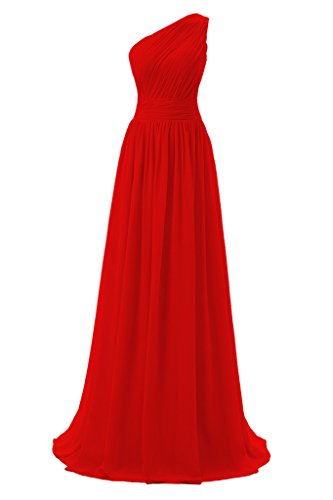 Dressever Women's Long One Shoulder Bridesmaid Chiffon Prom Evening Dress Red US 16