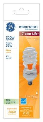 55w Cfl - Ge Cfl Bulb T5 200 W, 55 W = 200 W 3860 Lumens 2700 K White
