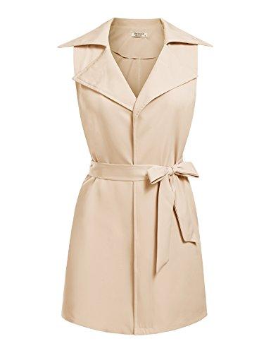 (Beyove Women's Sleeveless Pocket Long Waistcoat Belt Blazer Jacket Cardigan Top)