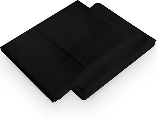 Pillowcases 2 Pack - Queen Black – Brushed Microfiber Pillow Cover - Maximum Softness - Elegant Double-Stitched Tailoring - Reduces Allergies and Respiratory Irritation - by Utopia Bedding