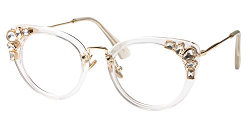 - SOOLALA Womens Luxurious Colorful Rhinestone Cateye Reading Glasses Eyeglass Frame, Trans, 2.5