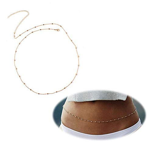 (Daycindy Minimalist Beach Bikini Belly Chain with Metal Beads for Women, Golden)