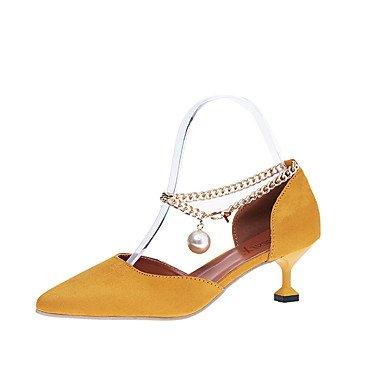pulg Noche EU36 Sandalias zapatos mujer vestidos perlas imitación UK4 Negro de Amarillo US6 2 Club Club de verano amp;Amp; 4 zapatos FYios cadena CN36 Stiletto PU 3 talón 2A de primavera wvFqw