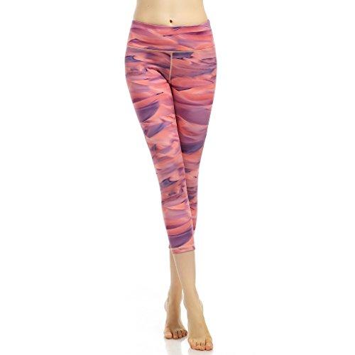 Pantalones 3/4 Para Mujer,Netspower Mujer Pantalones Elásticos De Yoga Mujer Pantalones Deportivos Elásticos Y Cómodos Mujer Polainas Pantalón Deportivo Para Mujer Rayas rojas