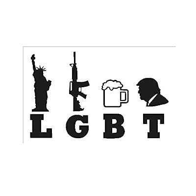 "LGBT Liberty Guns Beer Trump- 5"" Decal {BLACK} III%, 3 Percent, Militia, Gadsen, Patriot, Veteran, USMC, ARMY, USAF, NAVY, 2nd Amendment, Marine, sticker, vinyl, Come and Take It, M16, molon labe: Automotive"