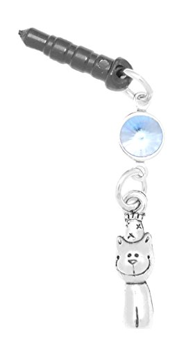 Clayvision Party Cat Kitty Phone Charm with Light Sapphire Colored Crystal Black (Kitty Cell)
