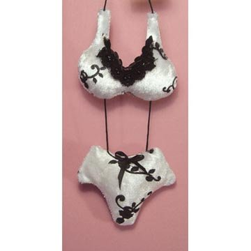 Mini Bikini Sachet - Ivory with Black Swirls -