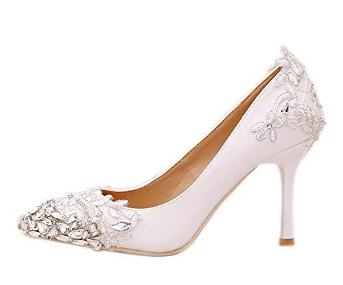 Formal Nupcial Satin Hhgold 5 on Slip Ivory 3 color Boda Fashion Shoes Uk Heel Applique Party Heel 10cm Tamaño YSSq0xpF