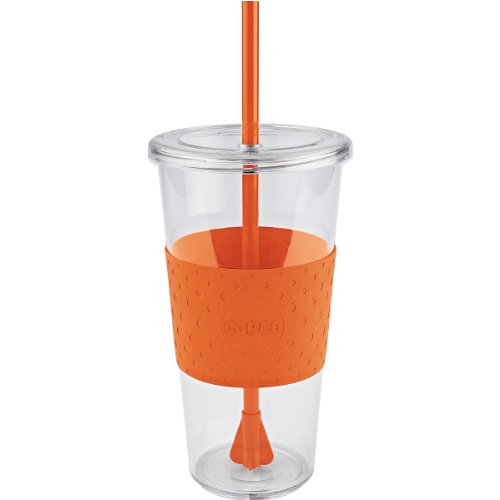 Copco 2510-9979 Sierra Single Wall Tritan Cold Tumbler with Removable Straw and Spill Resistant Lid, 24-Ounce, Orange ()
