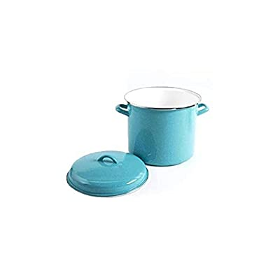 The Pioneer Woman Vintage Speckle 12-quart Stock Pot with Hollow Side Handles- Turquoise
